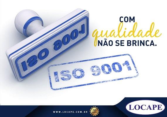 Banner com qualidade não se brinca - Locape Locações ISO 9001 2015